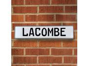 Vintage parts USA VPAY20567 Lacombe White Stamped Aluminum Street Sign Mancave Wall Art