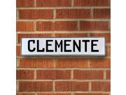 Vintage parts USA VPAY12796 Clemente White Stamped Aluminum Street Sign Mancave Wall Art