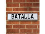 Vintage parts USA VPAYD400 Batalla White Stamped Aluminum Street Sign Mancave Wall Art
