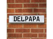 Vintage parts USA VPAY15BC3 Delpapa White Stamped Aluminum Street Sign Mancave Wall Art
