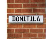 Vintage parts USA VPAY1549A Domitila White Stamped Aluminum Street Sign Mancave Wall Art