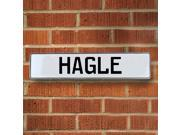 Vintage parts USA VPAY1B2BD Hagle White Stamped Aluminum Street Sign Mancave Wall Art