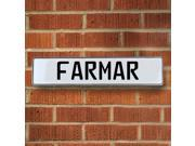 Vintage parts USA VPAY16F74 Farmar White Stamped Aluminum Street Sign Mancave Wall Art