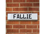 Vintage parts USA VPAY16EE6 Fallie White Stamped Aluminum Street Sign Mancave Wall Art