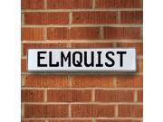 Vintage parts USA VPAY16A9F Elmquist White Stamped Aluminum Street Sign Mancave Wall Art