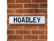 Vintage parts USA VPAY1BDC8 Hoadley White Stamped Aluminum Street Sign Mancave Wall Art
