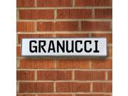 Vintage parts USA VPAY1AD29 Granucci White Stamped Aluminum Street Sign Mancave Wall Art