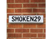 Vintage parts USA VPAY92A3 SMOKEN29 White Stamped Aluminum Street Sign Mancave Wall Art
