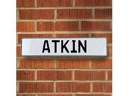 Vintage parts USA VPAYBF83 Atkin White Stamped Aluminum Street Sign Mancave Wall Art