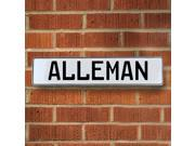 Vintage parts USA VPAYB938 Alleman White Stamped Aluminum Street Sign Mancave Wall Art