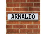 Vintage parts USA VPAYBDF4 Arnaldo White Stamped Aluminum Street Sign Mancave Wall Art