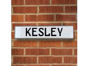 Vintage parts USA VPAY1F9BF Kesley White Stamped Aluminum Street Sign Mancave Wall Art
