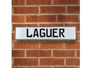 Vintage parts USA VPAY2061A Laguer White Stamped Aluminum Street Sign Mancave Wall Art