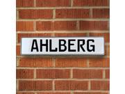 Vintage parts USA VPAYB775 Ahlberg White Stamped Aluminum Street Sign Mancave Wall Art