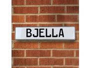 Vintage parts USA VPAYDC64 Bjella White Stamped Aluminum Street Sign Mancave Wall Art