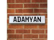 Vintage parts USA VPAYB683 Adamyan White Stamped Aluminum Street Sign Mancave Wall Art