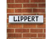Vintage parts USA VPAY21038 Lippert White Stamped Aluminum Street Sign Mancave Wall Art