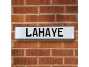 Vintage parts USA VPAY20625 Lahaye White Stamped Aluminum Street Sign Mancave Wall Art