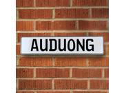 Vintage parts USA VPAYBFCD Auduong White Stamped Aluminum Street Sign Mancave Wall Art