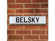 Vintage parts USA VPAYD738 Belsky White Stamped Aluminum Street Sign Mancave Wall Art