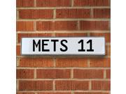 Vintage parts USA VPAY1D24 METS 11 MLB New York Mets White Stamped Street Sign Mancave Wall Art
