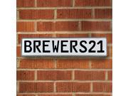 Vintage parts USA VPAY1CC9 BREWERS21 MLB Milwaukee Brewers White Stamped Street Sign Mancave Wall Art
