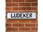 Vintage parts USA VPAY21436 Ludeker White Stamped Aluminum Street Sign Mancave Wall Art