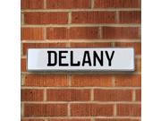 Vintage parts USA VPAY15B02 Delany White Stamped Aluminum Street Sign Mancave Wall Art