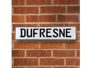 Vintage parts USA VPAY165C4 Dufresne White Stamped Aluminum Street Sign Mancave Wall Art