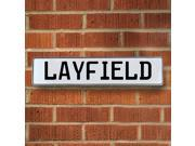 Vintage parts USA VPAY20A73 Layfield White Stamped Aluminum Street Sign Mancave Wall Art