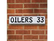 Vintage parts USA VPAY220A OILERS 33 NHL Edmonton Oilers White Stamped Street Sign Mancave Wall Art
