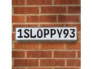 Vintage parts USA VPAY9913 1SLOPPY93 White Stamped Aluminum Street Sign Mancave Wall Art