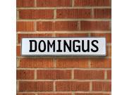 Vintage parts USA VPAY1626C Domingus White Stamped Aluminum Street Sign Mancave Wall Art