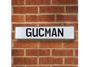 Vintage parts USA VPAY1AFF3 Gucman White Stamped Aluminum Street Sign Mancave Wall Art