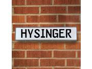 Vintage parts USA VPAY1C40C Hysinger White Stamped Aluminum Street Sign Mancave Wall Art