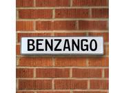 Vintage parts USA VPAYD835 Benzango White Stamped Aluminum Street Sign Mancave Wall Art