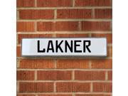 Vintage parts USA VPAY20664 Lakner White Stamped Aluminum Street Sign Mancave Wall Art