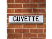 Vintage parts USA VPAY1B1A5 Guyette White Stamped Aluminum Street Sign Mancave Wall Art