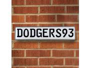 Vintage parts USA VPAY1C47 DODGERS93 MLB Los Angeles Dodgers White Stamped Street Sign Mancave Wall Art