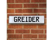 Vintage parts USA VPAY1ADED Greider White Stamped Aluminum Street Sign Mancave Wall Art
