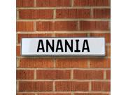 Vintage parts USA VPAYBB24 Anania White Stamped Aluminum Street Sign Mancave Wall Art