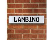 Vintage parts USA VPAY206B5 Lambino White Stamped Aluminum Street Sign Mancave Wall Art