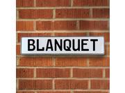 Vintage parts USA VPAYDCE8 Blanquet White Stamped Aluminum Street Sign Mancave Wall Art