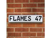Vintage parts USA VPAY21B3 FLAMES 47 NHL Calgary Flames White Stamped Street Sign Mancave Wall Art