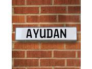 Vintage parts USA VPAYC0CE Ayudan White Stamped Aluminum Street Sign Mancave Wall Art