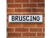 Vintage parts USA VPAYE797 Bruscino White Stamped Aluminum Street Sign Mancave Wall Art