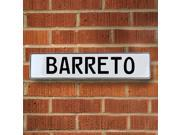 Vintage parts USA VPAYD2EE Barreto White Stamped Aluminum Street Sign Mancave Wall Art