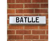 Vintage parts USA VPAYD423 Batlle White Stamped Aluminum Street Sign Mancave Wall Art