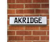 Vintage parts USA VPAYB810 Akridge White Stamped Aluminum Street Sign Mancave Wall Art
