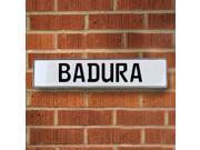 Vintage parts USA VPAYCF98 Badura White Stamped Aluminum Street Sign Mancave Wall Art